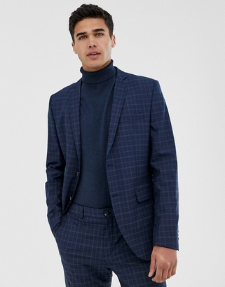 Jack and Jones skinny suit jacket in blue check