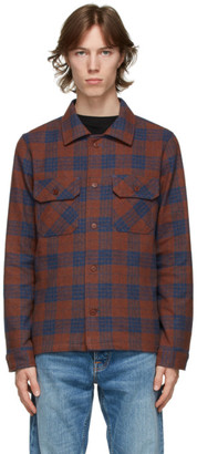 Naked and Famous Denim Orange and Blue Work Shirt