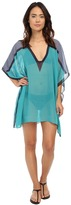 DKNY Street Cast Solids Color Blocked Kaftan Cover-Up