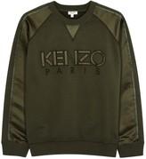 Kenzo Army Green Satin And Cotton Sweatshirt