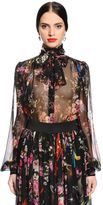 Dolce & Gabbana Flowers & Space Printed Chiffon Shirt