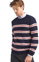 Merino-blend dual-stripe crew sweater