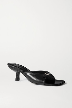 BY FAR Erin Buckle-embellished Leather Mules - Black