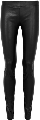 The Row Moto black leather trousers