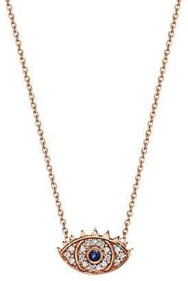 ginette_ny Ajna 18K Rose Gold, Diamond & Sapphire Eye Pendant Necklace