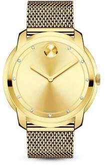 Movado Bold Diamond& Goldtone Stainless Steel Mesh Bracelet Watch