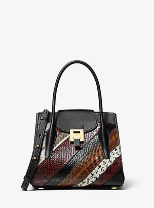 Michael Kors Bancroft Medium Patchwork Snakeskin and Leather Satchel - Burgundy