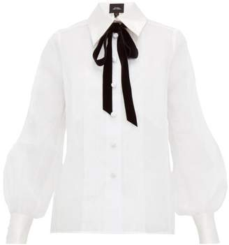 Marc Jacobs Velvet Pussy-bow Cotton-organza Blouse - Womens - White