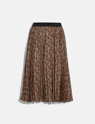 Coach Horse And Carriage Print Pleated Skirt