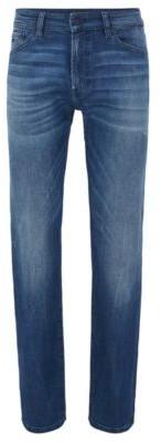 HUGO BOSS Regular Fit Jeans In Dark Blue Super Stretch Denim - Blue