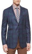 Kiton Cashmere-Blend Plaid Sport Coat, Blue