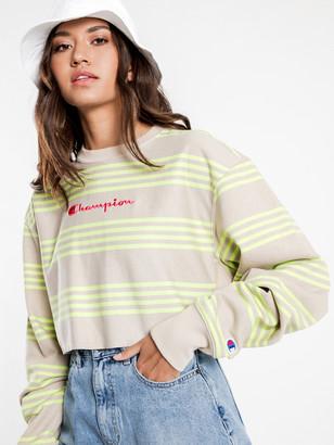 Champion Reverse Weave Crop Crew Sweatshirt in Green Stripe