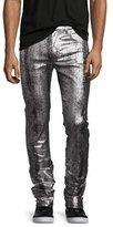 McQ by Alexander McQueen Metallic Painted Denim Slim-Straight Jeans, Silver/Gray