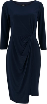 Wallis Navy Ruched Side Pencil Dress
