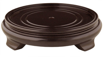 "Oriental Furniture Rosewood Pedestal Stand, 10"" Base Diameter"