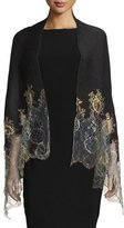Valentino Shaded Lace-Trim Plisse Shawl, Black/Gold