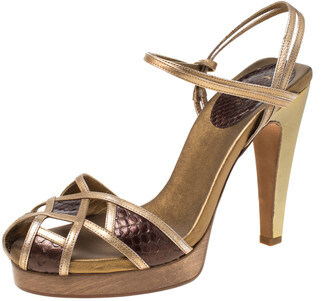 Chloé Gold/Brown Criss Cross Leather and Snakeskin Platform Sandals Size 37