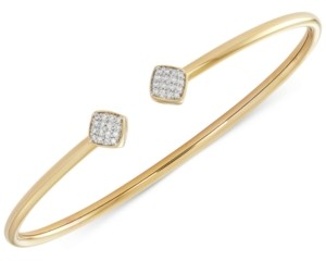 Wrapped Diamond Square Flexy Bangle Bracelet (1/6 ct. t.w.) in 14k Gold-Plated Sterling Silver, Created for Macy's