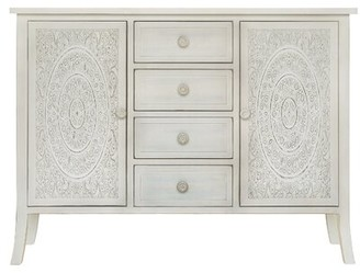 Bungalow Rose Whitt Antiqued Carved 2 Door Accent Cabinet