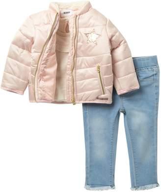 Hudson Jeans Shiny Puffer Faux Fur Collar Trim Jacket, Top, & Jeans Set (Baby Girls)
