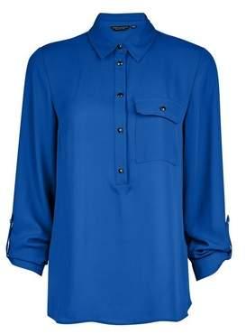 Dorothy Perkins Womens Cobalt Roll Sleeve Shirt