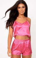 PrettyLittleThing Hot Pink Satin Pyjama Shorts Set