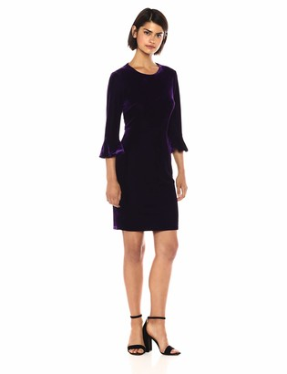 Donna Morgan Women's Jean 3/4 Bell Sleeve Velvet Sheath Dress