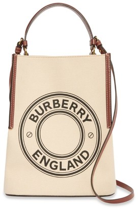 Burberry Canvas Logo Peggy Bucket Bag