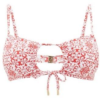 Melissa Odabash Zambia Tile-print Cut-out Bikini Top - Red Print