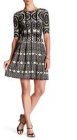 Taylor Foulard Print Novelty Knit Dress