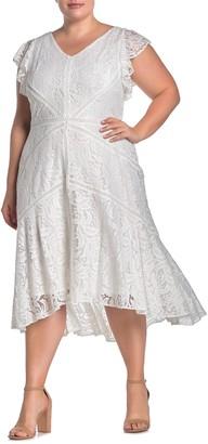 Taylor Flutter Sleeve High/Low Lace Dress (Plus Size)