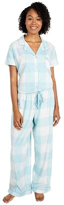 Splendid Short Sleeve Notch Collar Set (Sea Angel Buffalo Plaid) Women's Pajama Sets