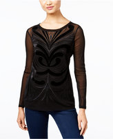 INC International Concepts Velvet-Trim Illusion Top, Only at Macy's