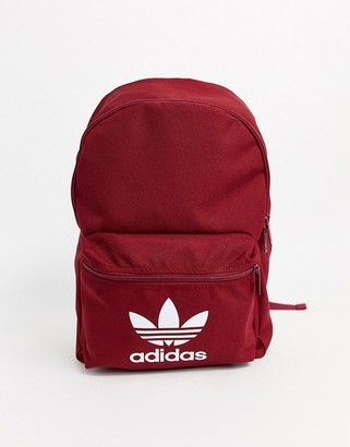 adidas backpack with trefoil logo in burgundy