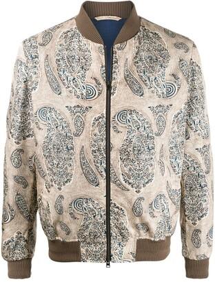 Etro long sleeve paisley print bomber jacket