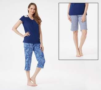 Carole Hochman Paisley/Gingham Cotton Jersey 3-Piece Pajama Set