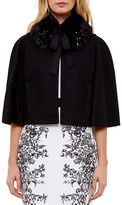 Ted Baker Lex Faux Fur-Collar Cropped Cape