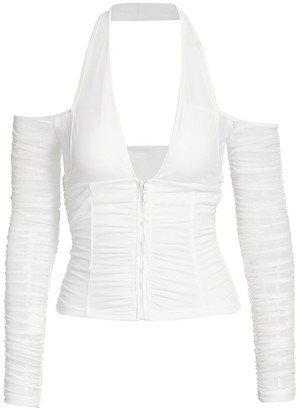 I.AM.GIA Diego Cold-Shouldered Ruched Halter Top