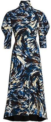 Proenza Schouler Exaggerated-Sleeve Printed Midi Dress