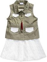 Sweet Heart Rose 3-Pc. Dress, Vest & Necklace Set, Toddler & Little Girls (2T-6X)