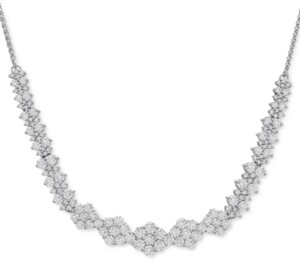 "Wrapped in Love Diamond Graduated Cluster Statement Necklace (2 ct. t.w.) in 14k White Gold, 17"" + 2"" extender"