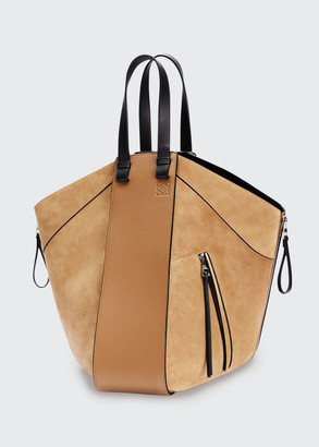 Loewe Hammock Suede & Leather Two-Tone Tote Bag