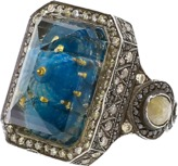 Sevan Biçakci Carved Blue Mosque Rock Quartz Diamond Ring