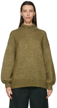 See by Chloe Green Wool Embellished Mock Neck Sweater