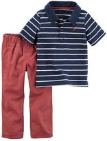 Carter's Toddler Boy Striped Polo & Canvas Pants Set