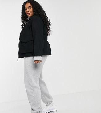 ASOS DESIGN Curve cotton pocket shacket in black