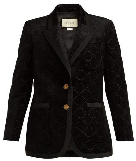 Gucci Single Breasted Logo Jacquard Blazer - Womens - Black