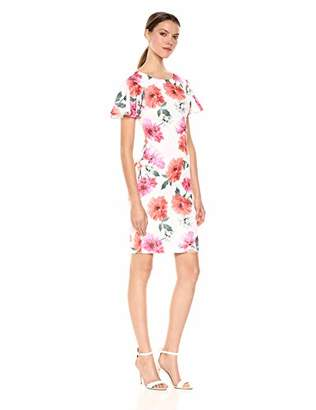 Calvin Klein Women's Short Flounce Sleeved Sheath Dress