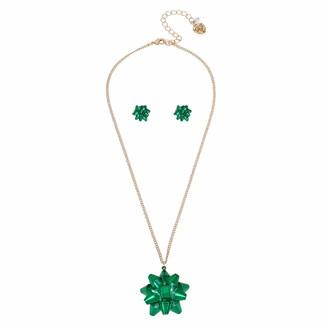 Betsey Johnson Festive Bow Pendant Necklace & Stud Earrings Set