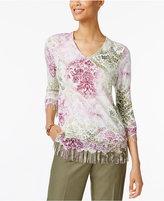 Alfred Dunner Palm Desert Printed Fringe Sweater